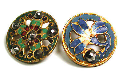 """BB 2 Antique French Pierced Enamel Buttons Colorful w/ Cut Steel Accents - 9/16"""""""