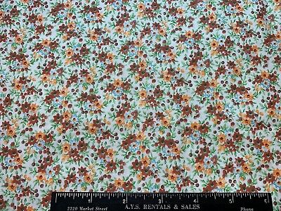 Vintage Cotton Fabric 40s SWEET Lil Reddish Brown Blue & Yellow Posies  35w 1yd