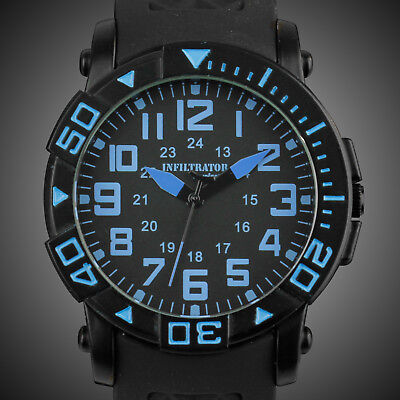 INFANTRY INFILTRATOR Mens Quartz Wrist Watch Military Sport Fashion Black Rubber
