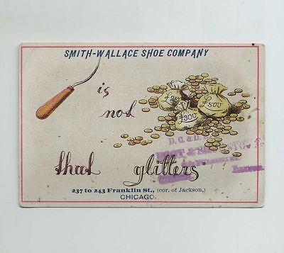 1800s Advertising Trade Card Smith Wallace Turley Shoe Chicago Lincoln IL wz2037