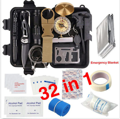 32 in 1 Emergency Camping Survival Equipment Kit Outdoor Tactical Hiking Gear