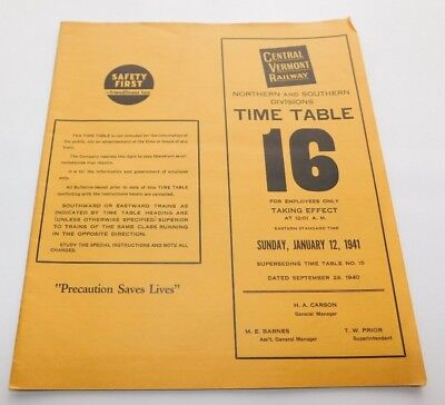 1941 Central Vermont Railway North & South Divisions Employee Timetable No. 16