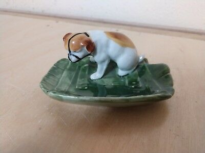 Antique German Germany Pink Pigs Dog In Muzzle Porcelain Pin Dish No Damage