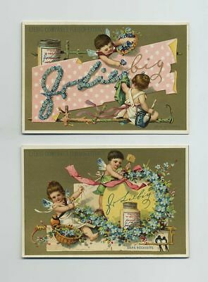(2) 1800's Gold Litho Advertising Trade Cards Liebig Co's Meat Extract wz2039