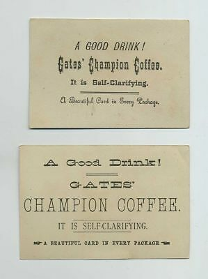 Lot (2) 1800's Gates Champion Coffee Advertising Trade Cards Child Sled wz1406