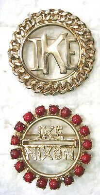 2 Jeweled Brooches - IKE & IKE & Nixon