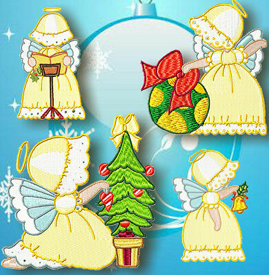Sunbonnet Christmas Angels   Machine Embroidery Designs Cd 2 Sizes Included