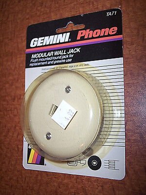 Gemini Phone Modular Wall Jack Flush Mount Round Jack Replacement & Prewire Plug