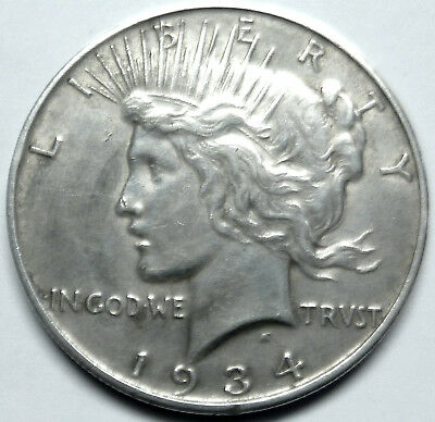 1934-d peace dollar XF from old collection noscamzone1 silver dollar !!!!!!!!!!!