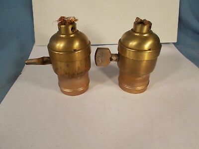 Vintage pair of P&S brand Fatboy Turnkey Brass Lamp Sockets c1920s