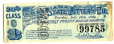 LOUISIANA LOTTERY TICKET 1889-GREAT ITEM (NOT A PC) SOME WEAR see our scans-