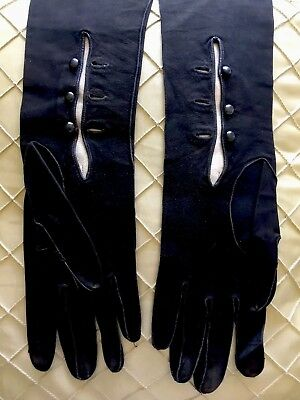 Vintage French Suede Black Soft Leather Elbow Length Womens Gloves Size 6.5
