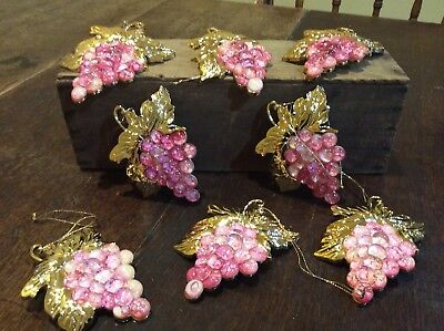 Vintage Hard Plastic Grape Clusters Pink With Gold Leaves Lot Of 8