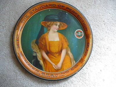 MAIER BREWING - LOS ANGELES - 1909 ANTIQUE BEER TRAY - PRETTY LADY in BIG HAT