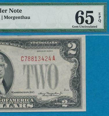 $2.00 1928-D  Red Seal  Pmg  Gem  New 65Epq United States Note