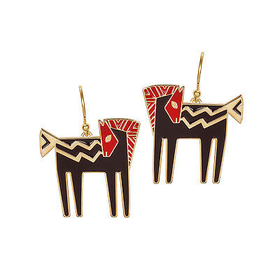 # New LAUREL BURCH Earrings Jewelry TEMPLE HORSE Black Red Gold Dangle Drop Pony