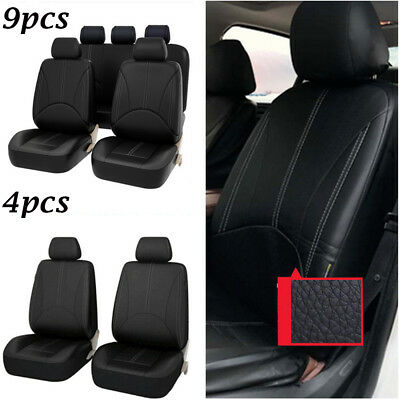 Universal PU Leather Car Front Rear Seat Cover Cushion Mat Protector 4/9pcs A0U5