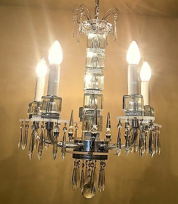 Vintage Lighting extraordinary 1930s Deco crystal chandelier
