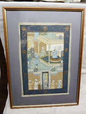 antique silk painting mughal indian persian empire framed matted circa 1900 old