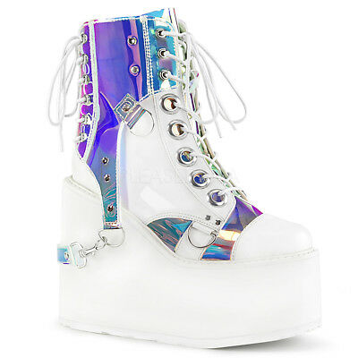 """Swing 115 White Punk Mirror Removable PVC Harness Ankle Boot 5.5"""" Platform"""