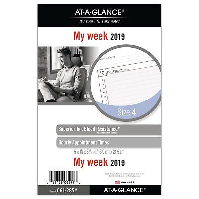 """AT-A-GLANCE 2019 Weekly Planner Refill Day Runner 5-1/2"""" x 8-1/2"""" Desk Size 4..."""