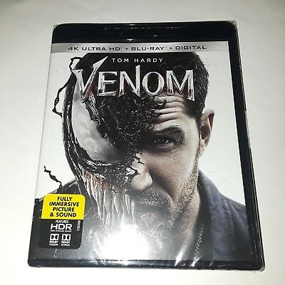 Venom, 4K Ultra HD + Blu-ray + Digital, 2018, ( BRAND NEW, FACTORY SEALED)