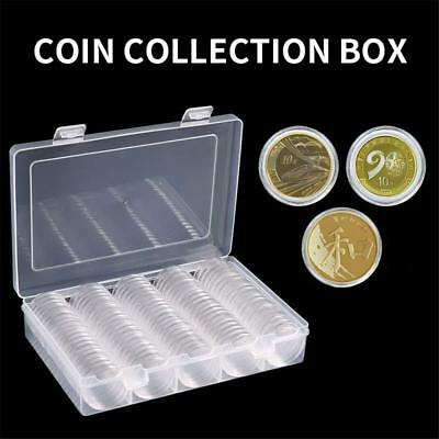 27mm Clear Round Coin Cases Capsules Container Holder Storage Box Plastic 100Pcs