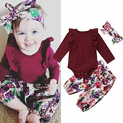 Cute Newborn Baby Girls Tops Romper Floral Pants Outfits Set Clothes UK STOCK