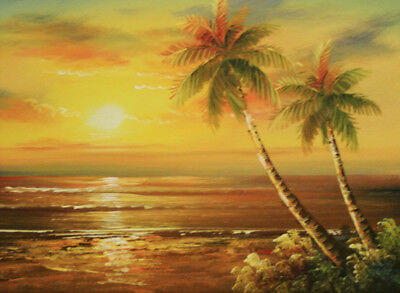 CHOP692 100% hand painted the setting sun seascape oil painting art on canvas