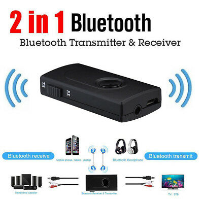 AU 2In1 Bluetooth Portable 3.5mm Stereo Black Transmitter Music Receiver Adapter