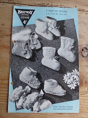 Vintage 40s Pattern, 3 Pairs Knitted Bootees, 1 Crochet, 1 Tunisian Crochet 3ply
