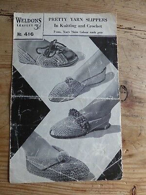 Vintage Weldons 40s Pattern, 3 Pairs Knitted Slippers & 1 Crochet, Various Yarns