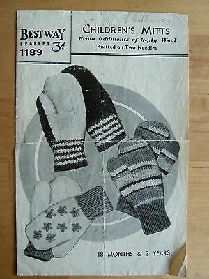 Austerity/Utility Format Knitting Pattern Booklet: Children's Mitts - 3 styles