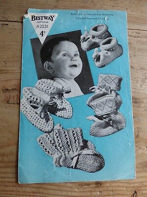 Vintage 40s Pattern, 3 Pairs Knitted Bootees, & 1 Crochet, 3ply