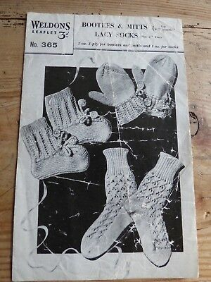 Vintage Weldons 40s Knitting Pattern, Lacy Socks 2-3Yrs, Bootees & Mitts 6-12mth
