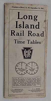 Long Island Railroad Timetables 9/14/1941 Brooklyn Montauk New York Map, Too