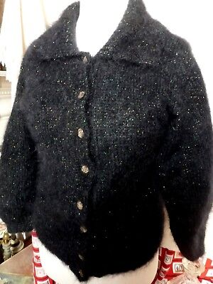 """Black hand-knitted mohair touch of glitz vintage buttons cardigan 40"""" bust"""