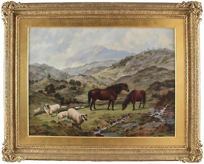 Dean Wolstenholme Large Antique Oil Painting Country Field Horse Sheep Signed
