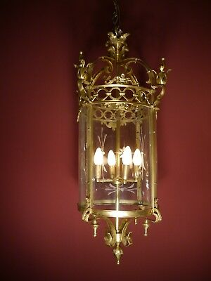 Large Heavy Brass Hanging Lantern Lamp Huge Chandelier Glass Foyer Antique