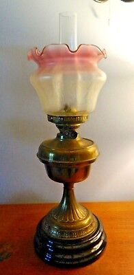 Lovely Early 20thc Brass Duplex Oil Lamp Black Pottery Socle French Vianne Shade
