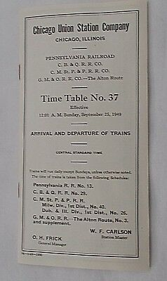 Chicago Union Station Company Railroad Timetable No. 37 Sept. 25. 1949 Prr ++