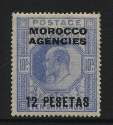 Morocco Agencies Spanish Currency 1907 KEVII 10s Blue Surch 12 PESETAS MM
