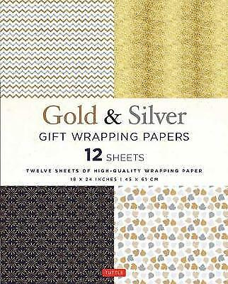 Silver and Gold Gift Wrapping Papers - 12 Sheets, Tuttle Publishing,