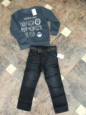 New Next Boys Belted Black Jeans  / Jumper   x   Bundle  5  years  Years   £ 20.