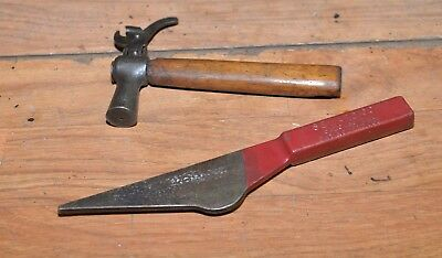 Antique odd tack hammer & Seward staple puller hardware store collectible tools