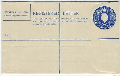Malaya Singapore 1957 20c + 10c registration stationery envelope unused