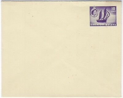 Malaya Singapore 1956 10c stationery envelope unused