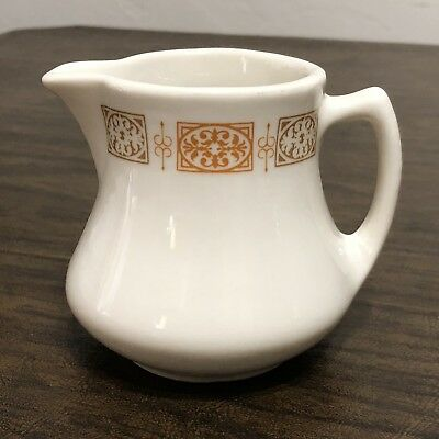 MCM Vintage CREAMER Shenango ORANGE & BROWN BLOCKS Restaurant Ware