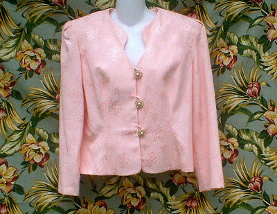 Vintage 80S Ursula Of Switzerland Peachy Pink Brocade Party Dress Jacket Size 14