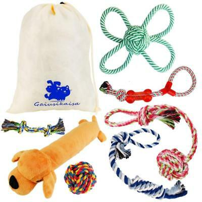 Set 7 Pet Dog Puppy Toys Rope Dogs Rubber Chew Toys 100% Natural Cotton New